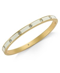Kate Spade New York Gold Tone Crystal Enamel Hinged Bangle Bracelet White