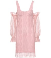 Burberry Embroidered Silk Lined Tulle Dress Pink