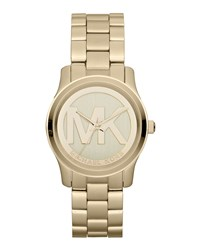 Mid Size Golden Stainless Steel Logo Three Hand Watch Michael Kors
