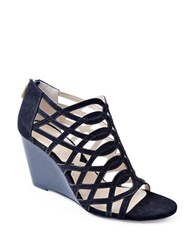 Adrienne Vittadini Andre Suede Wedge Sandals Black