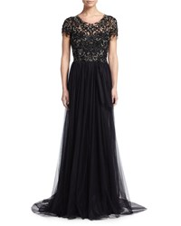 Marchesa Short Sleeve Sequin Embroidered Tulle Gown Black