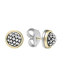 Lagos Sterling Silver Caviar Button Earrings Silver Gold