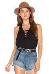 Three Eighty Two Remy Lace Front Tank Black