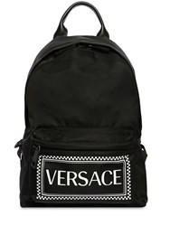 Versace Logo Printed Nylon Backpack Black