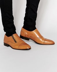 Asos Brogue Shoes In Tan Leather With Zip Tan