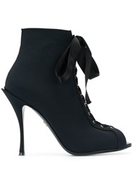 Dolce And Gabbana Bette Open Toe Booties Black