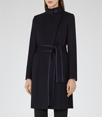 Reiss Lucille Womens Belted Wrap Coat In Blue