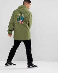 Analog Caldwell Overhead Ski Jacket Hooded Insulated Back Print In Green Olive Branch