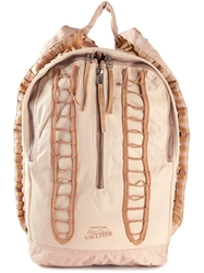 Jean Paul Gaultier Lace Up Detail Backpack Nude And Neutrals