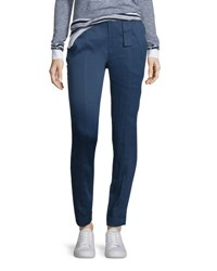 Vince Linen Blend Belted Trousers Blue Marine