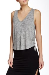 Riller And Fount Cropped V Neck Side Fringed Tank Gray