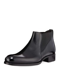 Tom Ford Edgar Low Leather Chelsea Boots Black