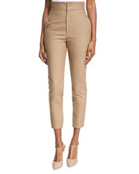 Co High Waist Sailor Button Cropped Skinny Pants Camel