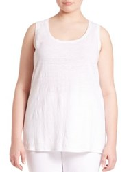 Eileen Fisher Plus Size Organic Linen Tank Top White