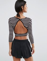Y.A.S Lounge Stripe Sweat Crop Top Co Ord Stripe Multi