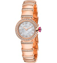 Bulgari Piccola Lvcea 18Ct Pink Gold Mother Of Pearl And Diamond Watch