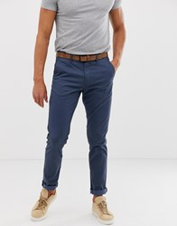 Tom Tailor Slim Fit Chino With Belt In Navy
