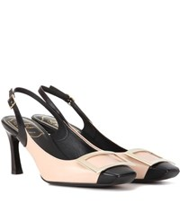Roger Vivier Trompette Sling Back Leather Pumps Neutrals