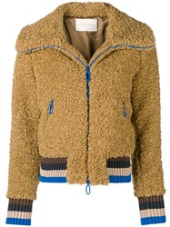 Marco De Vincenzo Furry Zipped Jacket Nude And Neutrals
