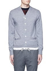 Sacai Drawstring Hem Wool Cardigan Grey