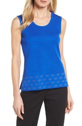 Ming Wang Scoop Neck Trimmed Tank Patriot Blue