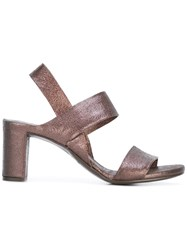 Roberto Del Carlo Double Strap Block Heel Sandals Brown