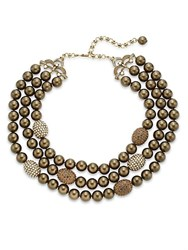 Heidi Daus Swarovski Crystal Three Row Beaded Necklace Brown