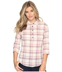 Royal Robbins Oasis Plaid Popover Top Cr Me Women's Long Sleeve Pullover Beige