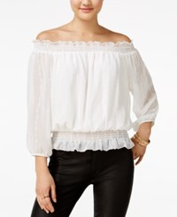 Amy Byer Bcx Juniors' Embroidered Off The Shoulder Peasant Top Off White