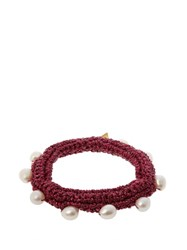 Lucy Folk Pearl Diver Crochet And Pearl Bracelet Pink