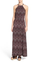 Loveappella Women's Loveapella Halter Neck A Line Maxi Dress Black Red Chevron Print
