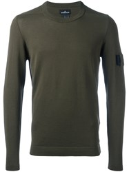 Stone Island Shadow Project Button Detail Jumper Green