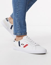 Lacoste Sideline Tri Trainers In White Canvas
