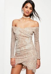 Missguided Pink Lace Bardot Long Sleeve Bodycon Dress