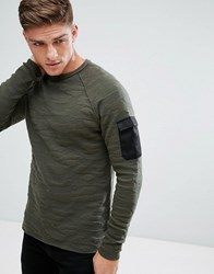 Only And Sons Knitted Jumper With Camo Jaquard Sleeve Pocket Deep Depths Green