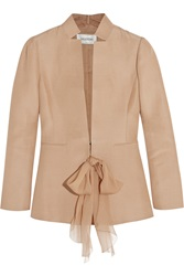 Valentino Silk And Cotton Blend Faille Blazer Nude