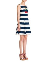 Dolce And Gabbana Striped Embroidered Dress Blue White Stripe