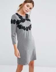 Girls On Film 3 4 Sleeve Shift Dress With Lace Detail Grey