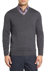 John W. Nordstromr Men's Big And Tall Nordstrom Merino Wool V Neck Sweater Grey Dark Charcoal Heather