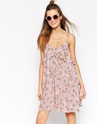 Asos Africa Frill Sundress In Pink Pansy Print Pansyprint