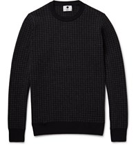 Nn.07 Conrad Houndstooth Wool Blend Sweater Blue