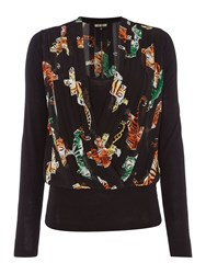 Biba Geo Tigers Pleated And Jersey Blouse Multi Coloured Multi Coloured