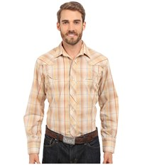 Roper Embroidered 0294 Earth Tone Plaid W Gold Lurex Brown Men's Long Sleeve Button Up
