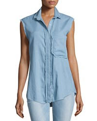 Nicholas Chambray Button Front Sleeveless Shirt Light Blue