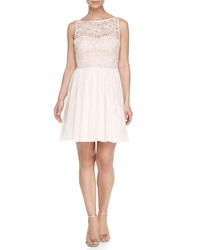 Aidan Mattox Bridesmaid Lace Bodice Tulle Skirt Cocktail Dress Petal