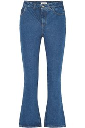 Attico Cropped High Rise Flared Jeans Blue