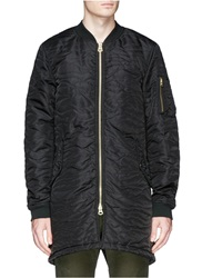 Scotch And Soda Quilted Long Bomber Jacket Blue