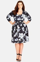 City Chic 'Vintage Floral' Belted Fit And Flare Dress Plus Size