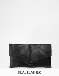 Asos Unlined Leather Soft Seam Clutch Bag Black