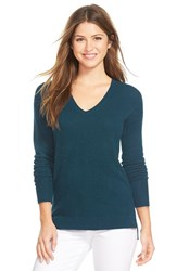 Women's Halogen V Neck Lightweight Cashmere Sweater Teal Abyss
